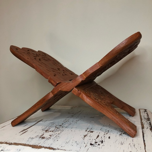 Hand Carved Wooden Book Stand